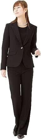 ブラックフォーマル レディース 喪服 3点セット パンツスーツ 142956487bps (11号)