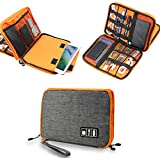 Electronics Accessories Organizer Bag,Portable Tech Gear Phone Accessories Storage Carrying Travel Case Bag, Headphone Earphone Cable Organizer Bag (L-Grey)