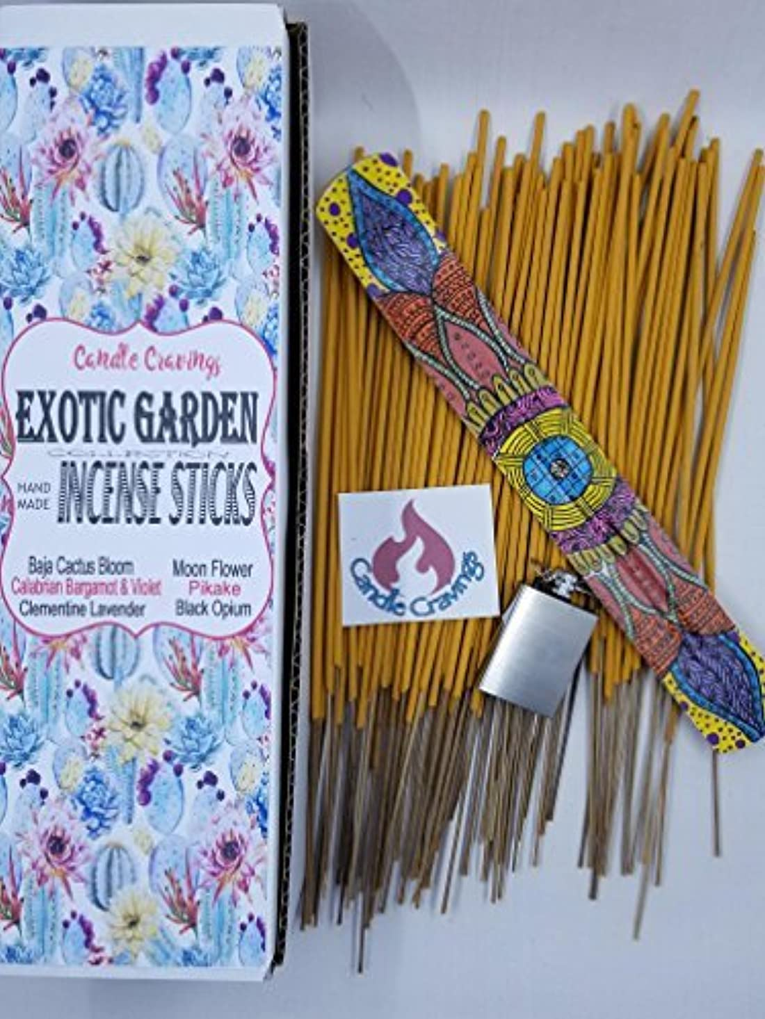 これら賞賛資産Scented Incense Sticks 6 Pack With Painted Holder - Exotic Garden ? Pikake Black Opium Baja Cactus [並行輸入品]