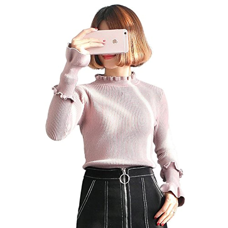 UNOPRO セーター レディース タートルネック プルオーバー きれいめ 秋 冬 通勤 通学 シンプル (ピンク)