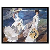 Sorolla Strolling Along The Seashore Painting Art Print Framed Poster Wall Decor 12x16 inch ペインティングポスター壁デコ