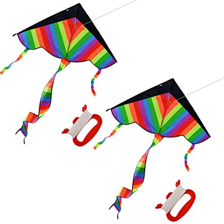 凧、Wolfbush 2pcsマルチカラーアウトドアスカイダンサーおもちゃKite 600dポリエステルファイバーグラス三角形Flying Kite With Long Tail