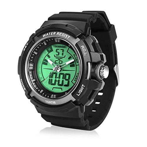 TEKMAGIC 水泳ダイバー腕時計10気圧防水 100メートルダイビング腕時計 ストップウォッチと目覚まし時計機能付き デュアルタイムゾ ーンの表示をサポート 12/24時間モードスイッチ LEDバックライト付き(W19-G)