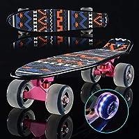 WTYD アウトドアスポーツ用品 72ミリメートル研削フラッシュホイール付き輝く魚プレートスクーターシングルチルト四輪スケートボード アウトドアライフのために (色 : ピンク)