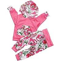 新生児赤ちゃん女の子長袖花柄パーカー+パンツ2個服装Clothingセット