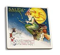 Salem、マサチューセッツ州–ハロウィン魔女と月–ビンテージポストカード 4 Coaster Set LANT-47469-CT