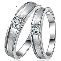 恋人天然ダイヤモンドパートナーシップのカップルの14Kホワイトゴールドの結婚指輪リング(女性 19号)