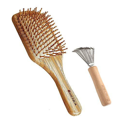 Orienex ヘアブラシ 木製櫛 頭皮&肩&顔マッサージ 美髪ケア 血行促進 薄毛改善 ブラシクリーナー付き