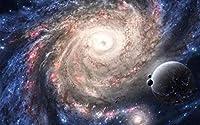 惑星を銀河系宇宙sci fiスペース Planet Galaxy Universe Sci Fi Space Painting silk fabric poster シルクファブリックポスター 53cm x 33cm