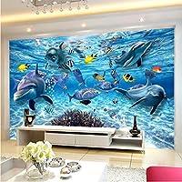 Wuyyii 3D漫画の壁画の壁紙Hd水中世界イルカ写真壁布子供子供の寝室の背景壁カバー3D装飾-400X280Cm