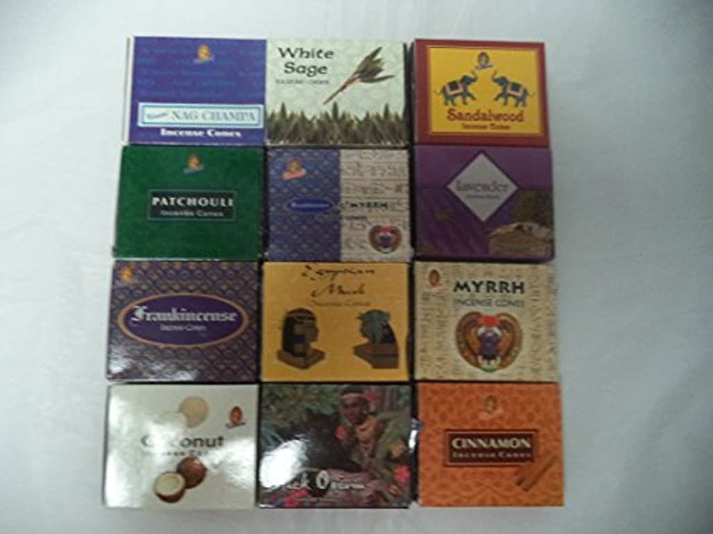 12 AssortedボックスのKamini Incense Cones、Best Sellersセット合計12 x 10 (120 )