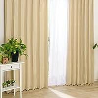 遮光 厚地カーテン2枚 と ミラーレースカーテン2枚 の セット 「レオーネ4枚入」 ベージュ (幅100cm X 丈105cm ・ 厚地2枚 + レース2枚)