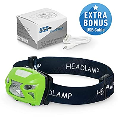 Zooko - LED Headlamp - USB Rechargeable - Bright Cree LED Flashlight with Sensor - Waterproof - Flash Light and Red Light - Perfect Head Lamp Torch for Running, Fishing, Camping, Cycling