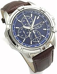 SEIKO セイコー ソーラー クロノグラフ 光発電 革ベルトセット オリジナルベルト付属 メンズソーラー腕時計 アズーロ・エ・マローネ SSC141PC/BR [並行輸入品]