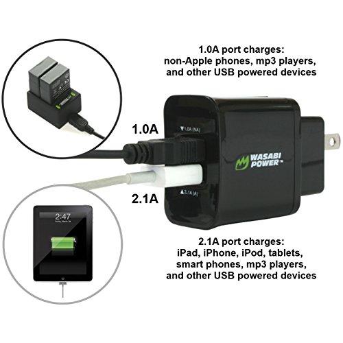 『GoPro HERO4専用 バッテリー2ケ+充電キット デュアルUSBチャージャー USBケーブル プラグ カーチャージャー WASABI POWER【並行輸入品】 GoPro HERO4, GoPro AHDBT-401, AHBBP-401』の7枚目の画像