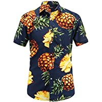 JEETOO Men's Pineapple Short Sleeve Casual Aloha Hawaiian Shirt