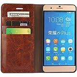 Huawei Honor 6 Plusケース ビンテージ調オイル革 ブック手帳型 スタント機能付き カードスロット3枚紙幣収納ポケット付 耐久性良い スマホ保護レザーカバー (コーヒー)