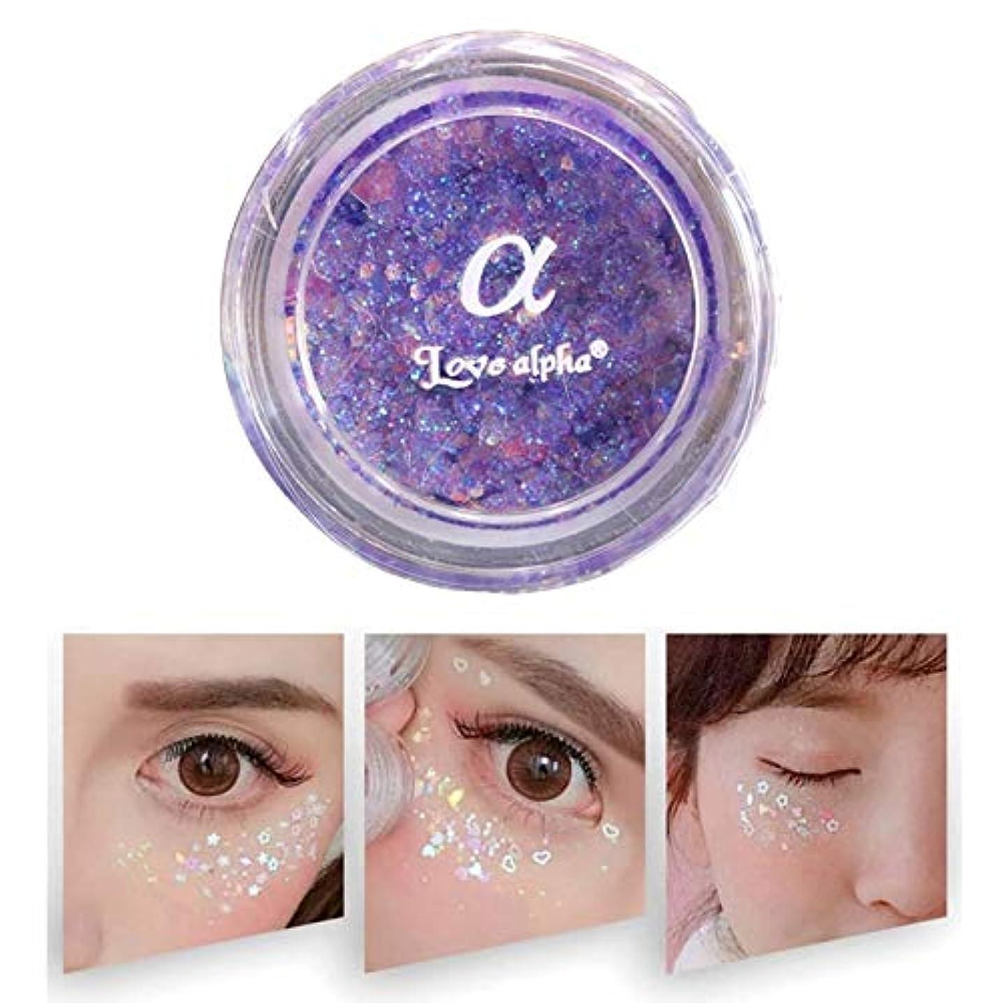 無視従来の社会美容アクセサリー モノクロアイシャドー真珠光沢のある高光沢ステージスパンコールメイクフリーのりグリッターパウダー(ピンク) 写真美容アクセサリー (色 : 紫の)