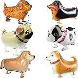 【hanano】風船 動物 おさんぽ バルーン 犬 6種セット 誕生日 パーティー 用品 子供 キッズ 装飾 飾り付け ドッグ 子犬 可愛い