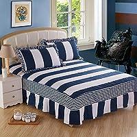 Zhiyuan 綿100%のベッドカバーと枕カバー2つセット 180x200x40cm、ストライプ