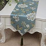 テーブルランナー ホームデコレーション リネン 北欧 工芸品 おしゃれ 結婚式 パーティー エレガント モダン シンプル (Color : Blue, Size : 33*200cm)