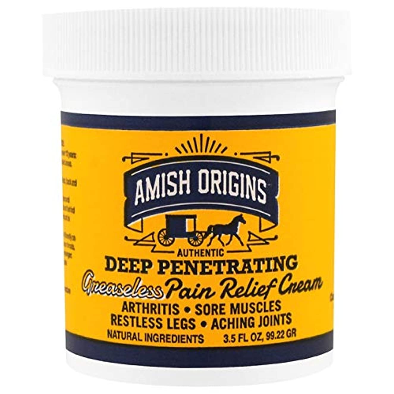 恥砲撃研究海外直送品Deep Penetrating Pain Relief Cream, 3.5 OZ by Amish Origins