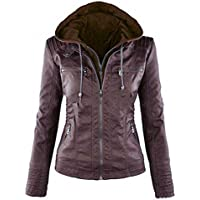 Womens Leather Hooded Jacket Slim Parka Coat Overcoat Trench Winter Outwear Coffee M