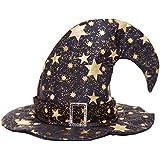 HuaQingPiJu-JP ベンドキャップハロウィーン装飾5ポイントスターパターン魔女Hat_Black