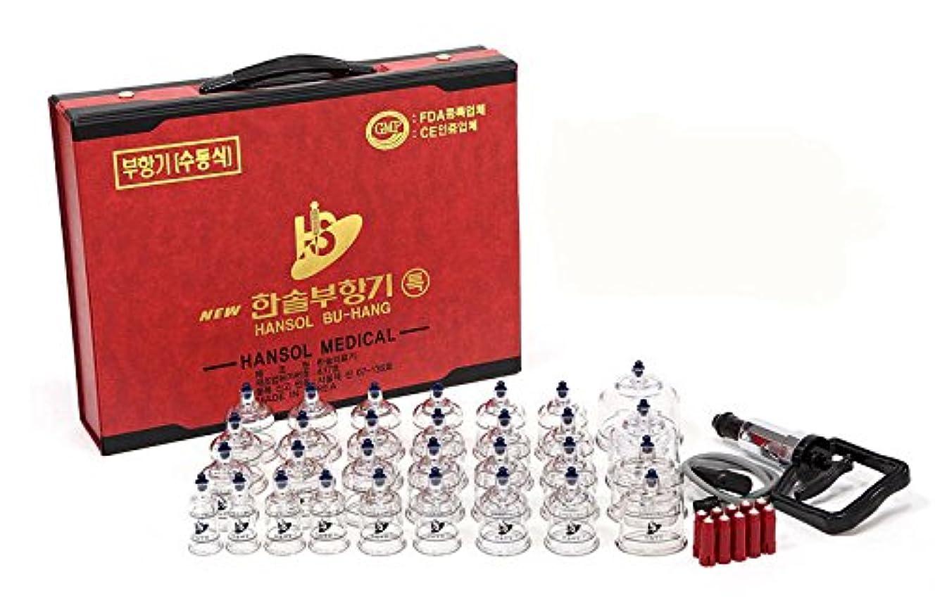 収まる火傷粗いEMS特急配送-ハンソル(HANSOL)カッピング (プハン)セット-カップ7種類 30個 つぼ押しピン10本付き