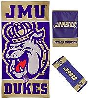 WinCraftバンドル3点セット:James Madison University JMU Dukes 1 ビーチタオル 1 冷却タオル 1 ガーデンフラッグ