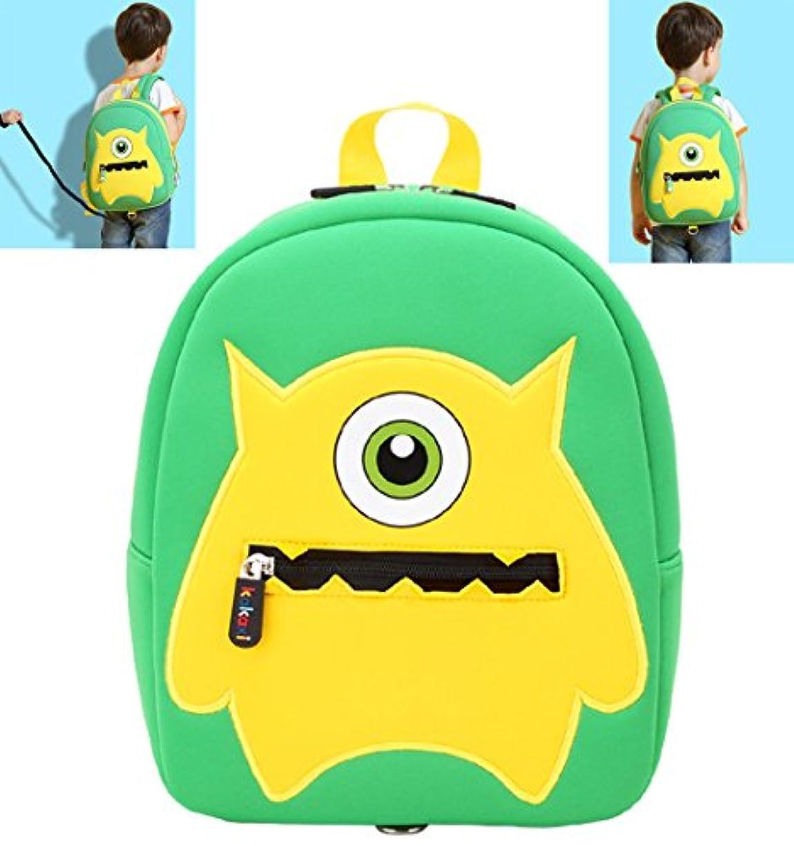 俳句良いライラックキッズ子供かわいい漫画動物のスクールバッグワンターモンスター幼児のバックパックグリーン