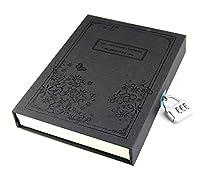 B&S FEEL ビンテージスタイル ハードカバー 厚みのある ダイアリー ノート ジャーナル ノートパッド 番号鍵付き ギフトボックス ブラック
