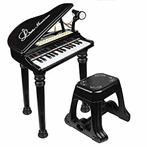 マジックピアノ ひかるカラフル 椅子付き ピンク・ブラック2色展開 (ブラック) [並行輸入品]