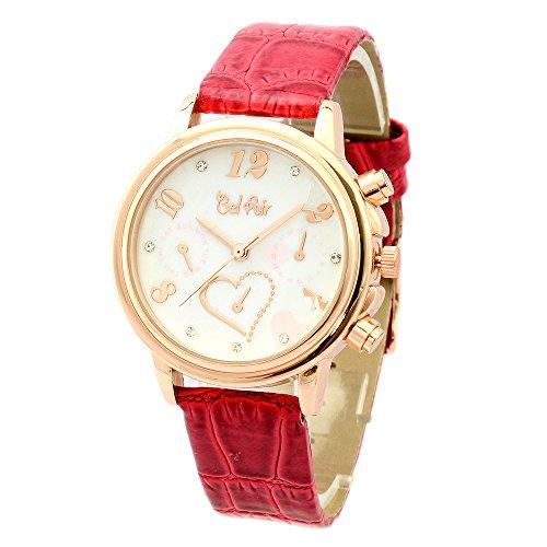 【ベルエア】Bel Air Collection OSD80 ラインストーン ハート ウォッチ ピンクゴールド レディース 腕時計 (ピンクゴールド×レッド)
