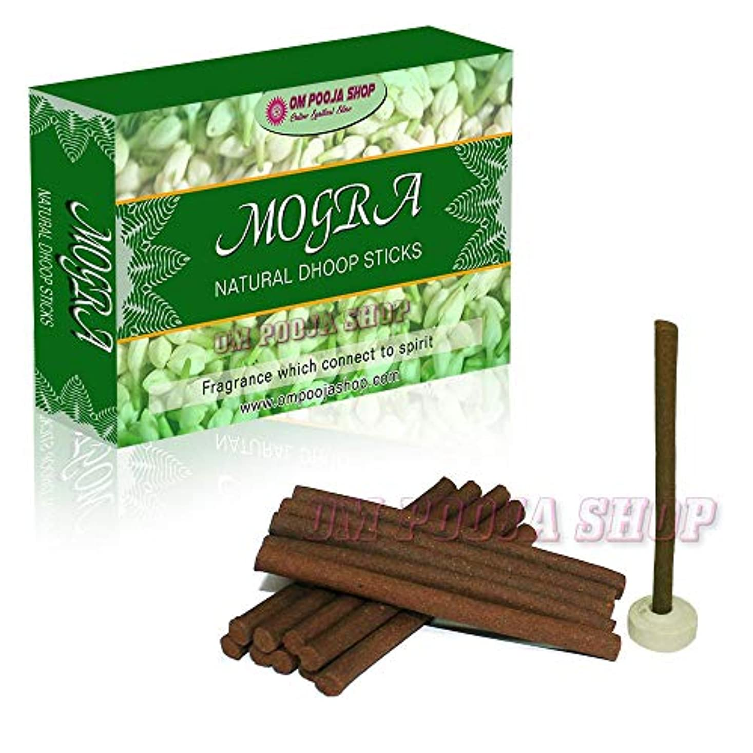 ユーモラス傷つきやすい時代Om Pooja Shop Mogra (ジャスミンの花) 天然のフープスティック 100本