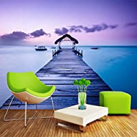Wxmca ロマンチックな美しいフレスコ画海辺の風景壁画壁紙リビングルームの寝室の背景装飾壁画3D-280X200Cm