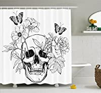 Ambesonne Day Of The Dead Decor Shower Curtain, Skull with Flower Blooms and Butterflies Vintage Gothic Print, Fabric Bathroom Decor Set with Hooks, 84 Inches Extra Long, Black and White [並行輸入品]