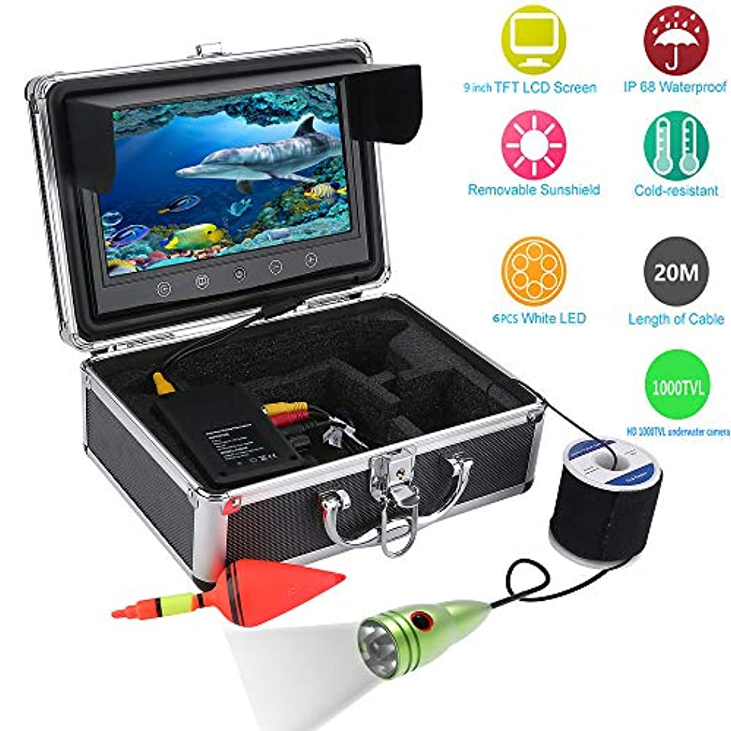 リテラシーラジエーター慣れる水中フィッシュファインダー HD 水中カメラ9インチ液晶モニター IP68 防水 (20m)