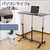 昇降式テーブル リフティングテーブル パソコンデスク 伸長式 ガス圧/ダークブラウン