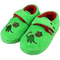 Tirzrro Little Kids Big Boys Cute Dinosaur Slippers Non-Slip Indoor Warm Shoes