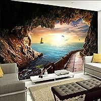 Lixiaoer カスタム壁画壁紙壁カバー洞窟シービュー日没風景壁壁画用リビングルームソファ背景写真壁紙3D-150X120Cm