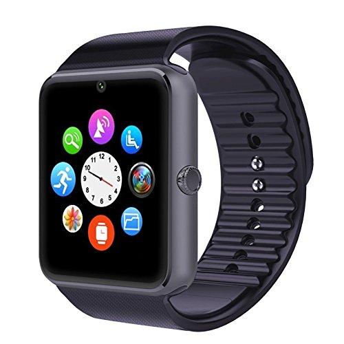 Bluetoothスマートウォッチ、vrunowすべてロック解除の携帯電話1腕時計電話腕時計Sweatproof Band with SIMカードスロットとfor iOS iPhone 5s / 6/ 6s / 7およびAndroidスマート電話 ブラック