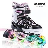 インラインスケート 子ども キッズ ローラースケート ジュニア 女の子 初心者 向け Inline skate サイズ調整可能 ピンク