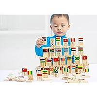 hsomid 100個木製教育National Flag Domino Building Blocksおもちゃ、子供木製教育玩具