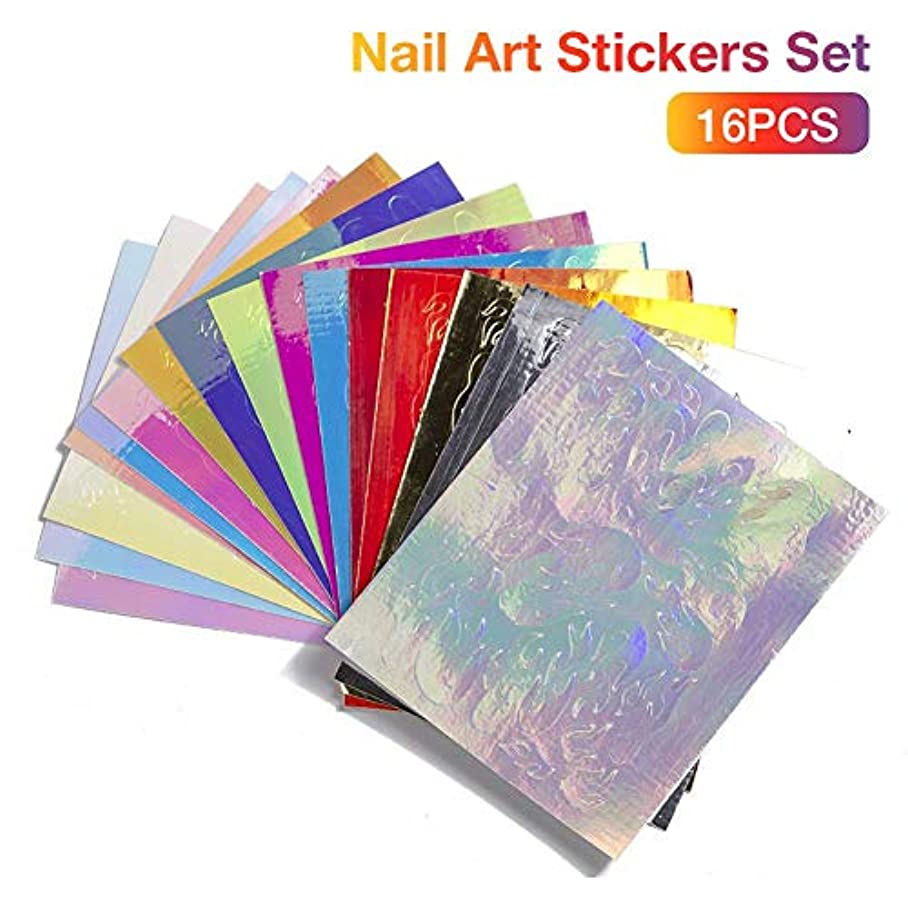 病的すすり泣きピッチLUHUN 16PCS Nail Art Stickers Set Colorful Sequin Stickers Nail Stickers And Decals Nail Art Stickers For Womenfor...