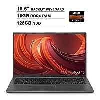 2019 ASUS VivoBook 15 15.6 Inch FHD 1080P Laptop (AMD Ryzen 3 3200U up to 3.5GHz, 16GB DDR4 RAM, 128GB SSD, AMD Radeon Vega 3, Backlit Keyboard, FP Reader, WiFi, Bluetooth, HDMI, Windows 10) (Grey)