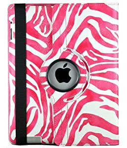 Termichy 360 Degrees Rotating Stand Zebra Animal pattern Stylish Case for Apple New iPad 2/3/4--Hotpink Zebra by Termichy [並行輸入品]
