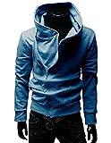 (アルファーフープ) α-HOOP メンズ 斜め ジッパー フード 付き パーカー ジャケット M ~ XXL まで 大きい サイズ も 大人 男 性 用 C-1 (06.青(Lサイズ))