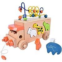 Kids木製ビーズ迷路Pullおもちゃ木製Building Blocks動物パターンカートバスおもちゃプレイセットギフトベビー初期学習教育玩具