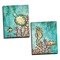 Sea Lifeターコイズとオレンジunder the ocean fish turtleタツノオトシゴとコーラル Two 11x14in Hand-Stretched Canvases